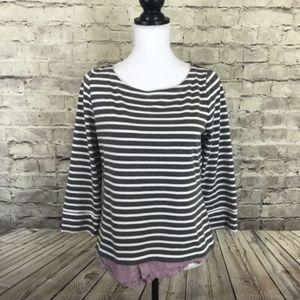 Market & Spruce Grey Striped Stripe Sweater